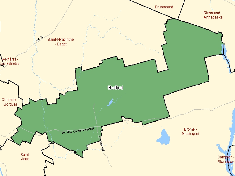 Map: Shefford, Federal electoral district, 2003 Representation Order (shaded in green), Quebec