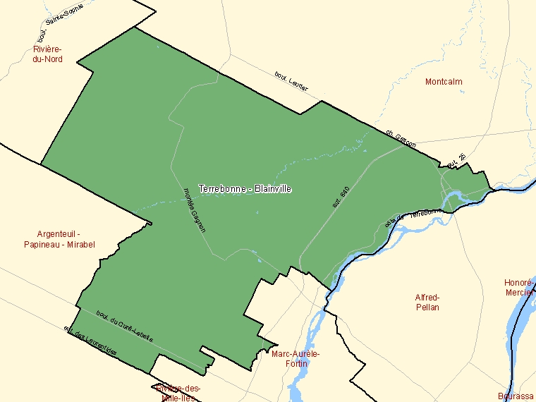 Map: Terrebonne - Blainville, Federal electoral district, 2003 Representation Order (shaded in green), Quebec