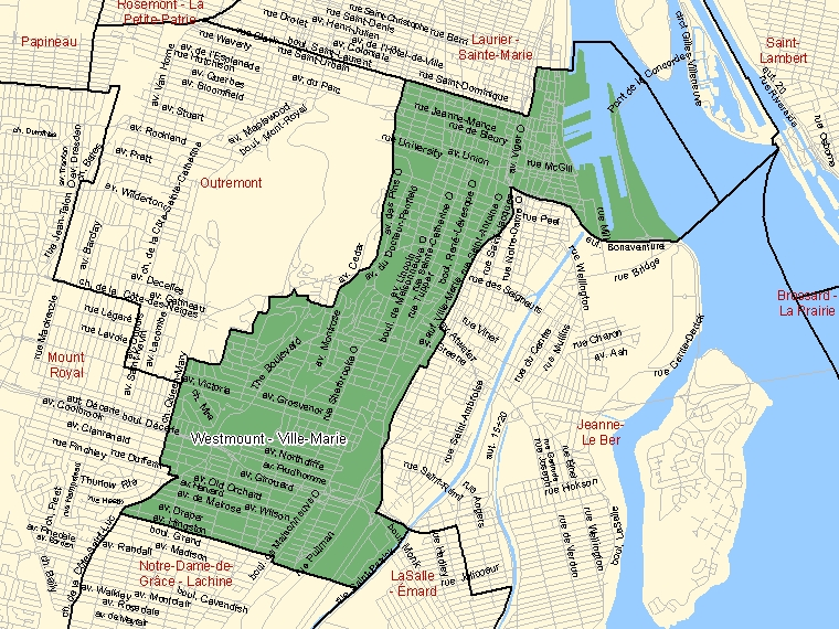 Map: Westmount - Ville-Marie, Federal electoral district, 2003 Representation Order (shaded in green), Quebec