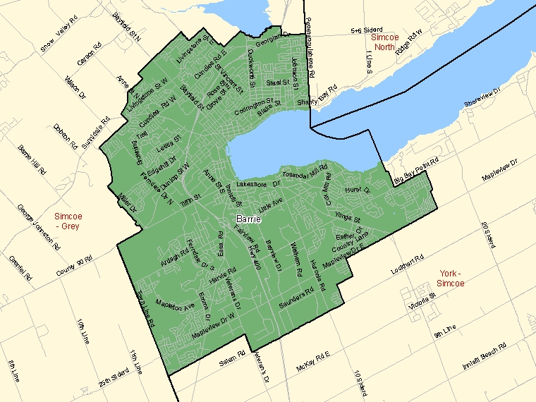 Map: Barrie, Federal electoral district (shaded in green), Ontario