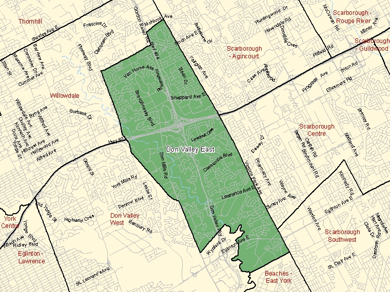 Map: Don Valley East, Federal electoral district (shaded in green), Ontario