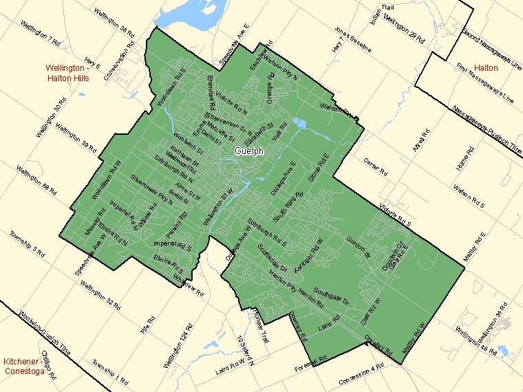 Map: Guelph, Federal electoral district (shaded in green), Ontario