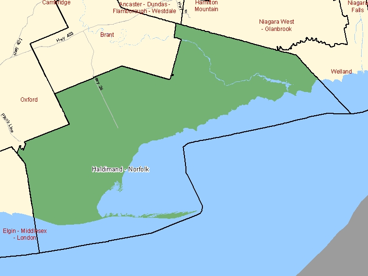 Map: Haldimand - Norfolk, Federal electoral district (shaded in green), Ontario