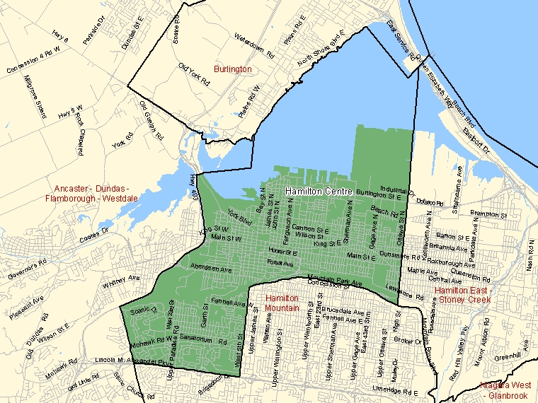 Map: Hamilton Centre, Federal electoral district (shaded in green), Ontario