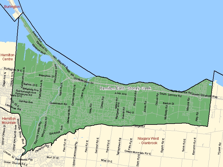 Map: Hamilton East - Stoney Creek, Federal electoral district (shaded in green), Ontario