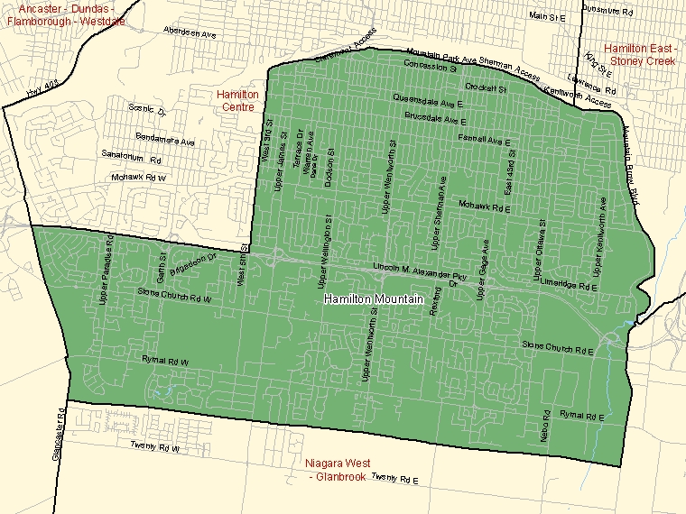 Map: Hamilton Mountain, Federal electoral district (shaded in green), Ontario