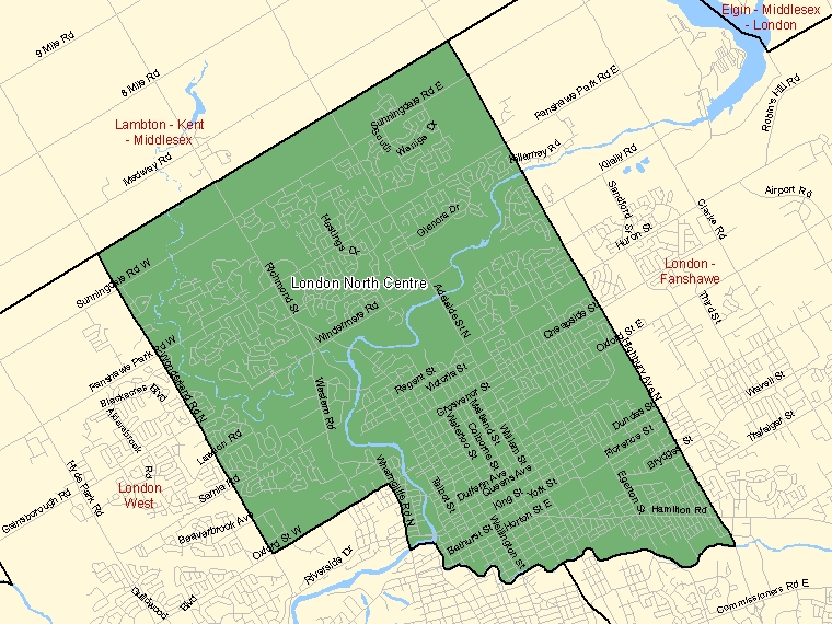 Map: London North Centre, Federal electoral district (shaded in green), Ontario