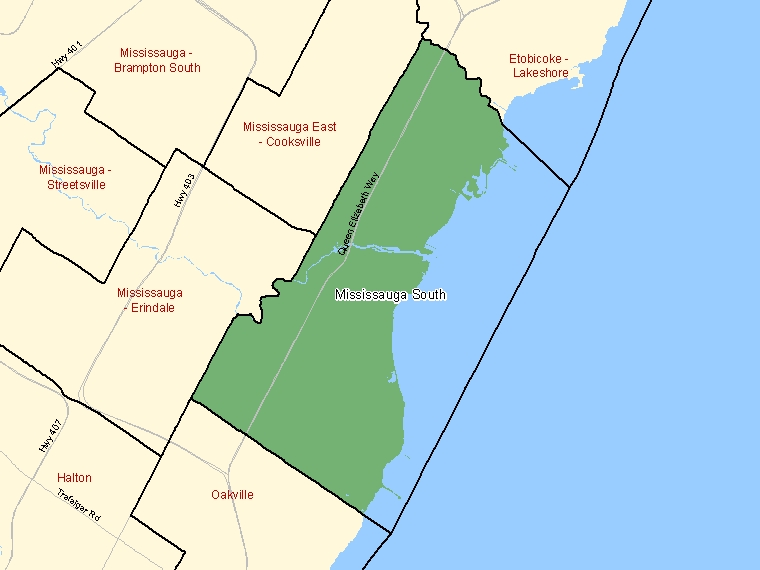 Map: Mississauga South, Federal electoral district (shaded in green), Ontario