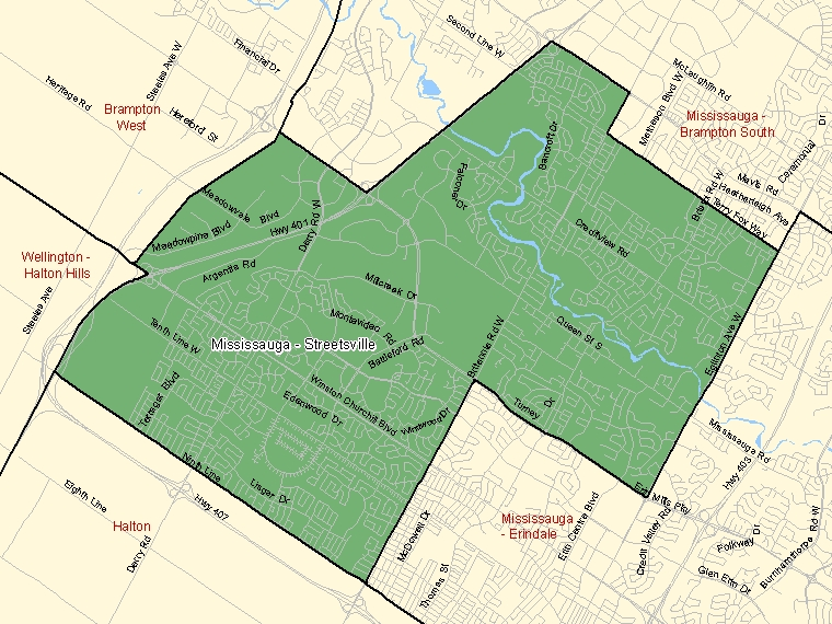Map: Mississauga - Streetsville, Federal electoral district (shaded in green), Ontario