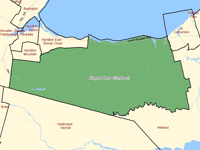 Map: Niagara West - Glanbrook, Federal electoral district (shaded in green), Ontario