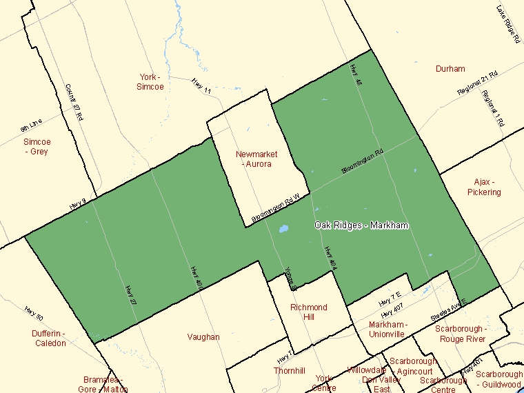 Map: Oak Ridges - Markham, Federal electoral district (shaded in green), Ontario