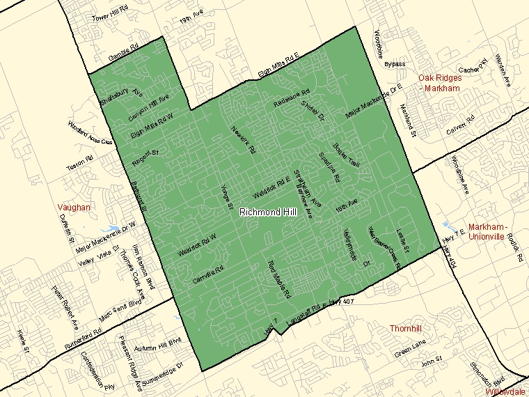 Map: Richmond Hill, Federal electoral district (shaded in green), Ontario