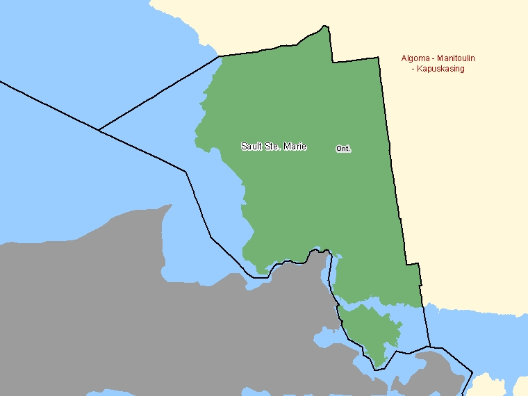 Map: Sault Ste. Marie, Federal electoral district (shaded in green), Ontario