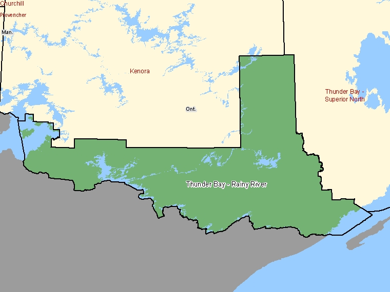 Map: Thunder Bay - Rainy River, Federal electoral district (shaded in green), Ontario