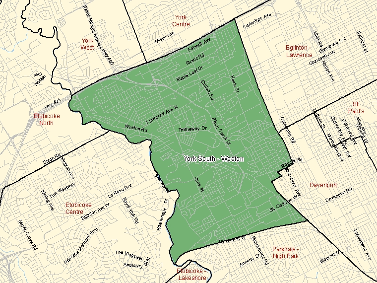 Map: York South - Weston, Federal electoral district, 2003 Representation Order (shaded in green), Ontario