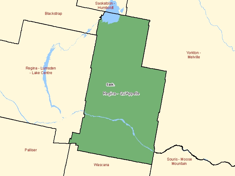 Map: Regina - Qu'Appelle, Federal electoral district (shaded in green), Saskatchewan