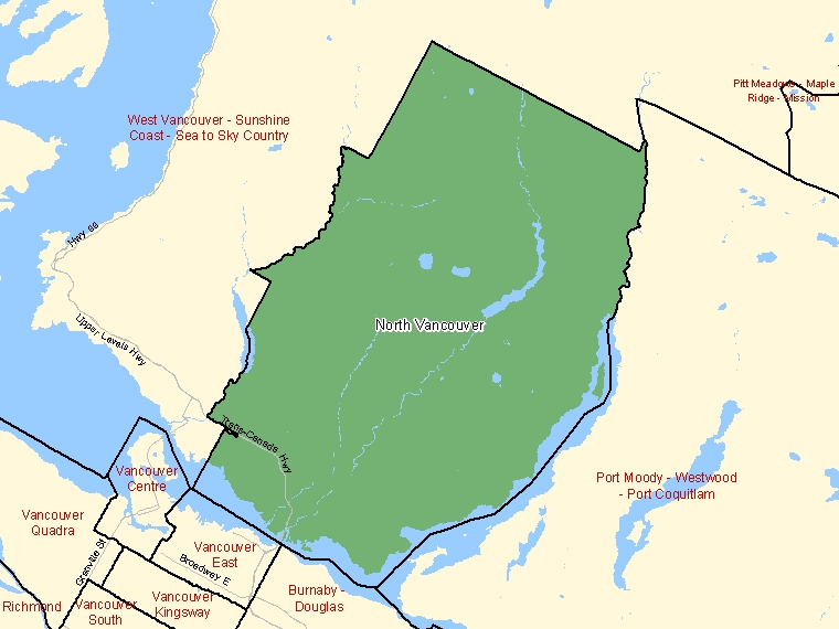 Map: North Vancouver, Federal electoral district (shaded in green), British Columbia