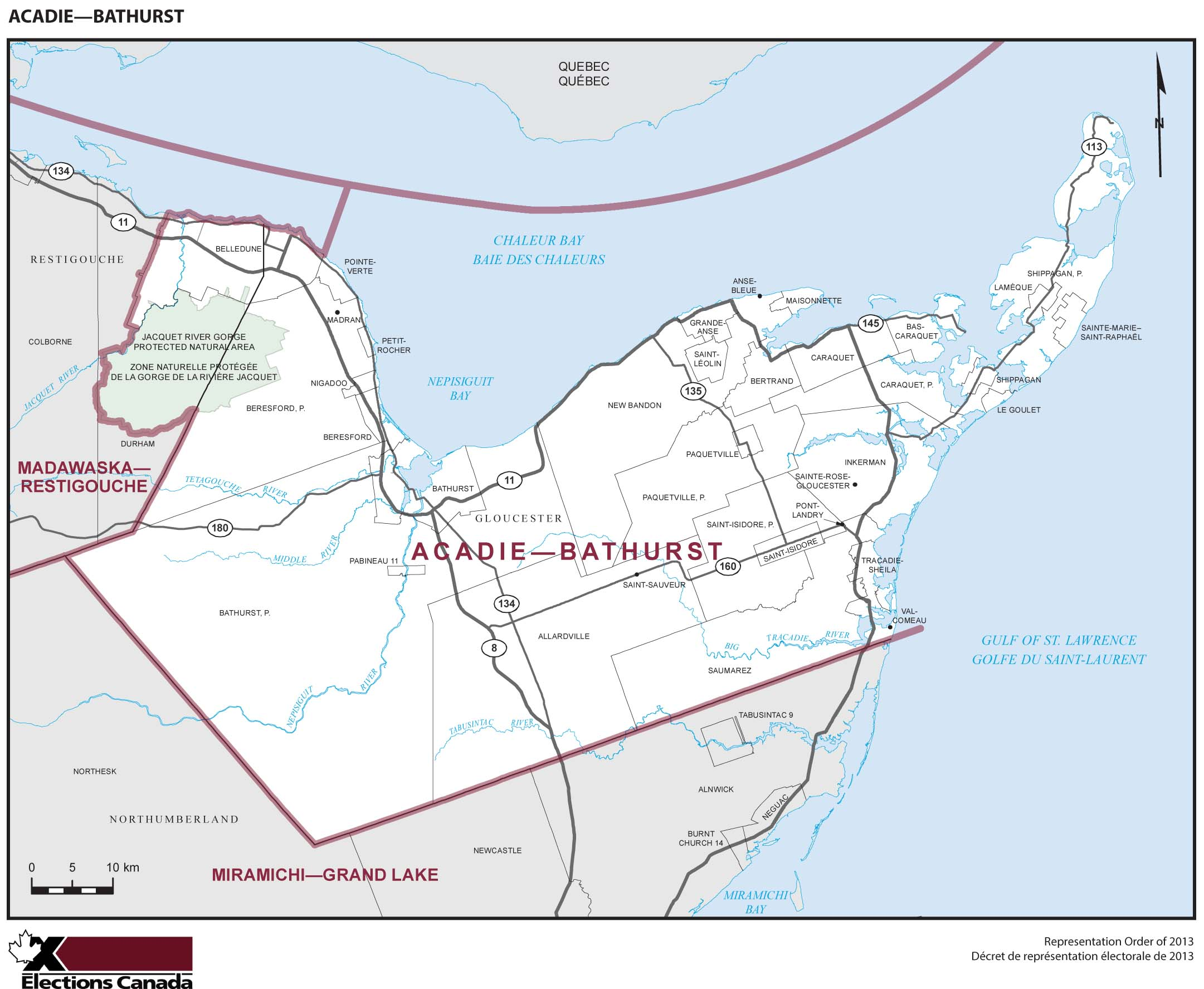 Map: Acadie--Bathurst, Federal electoral district, 2013 Representation Order (in white), New Brunswick