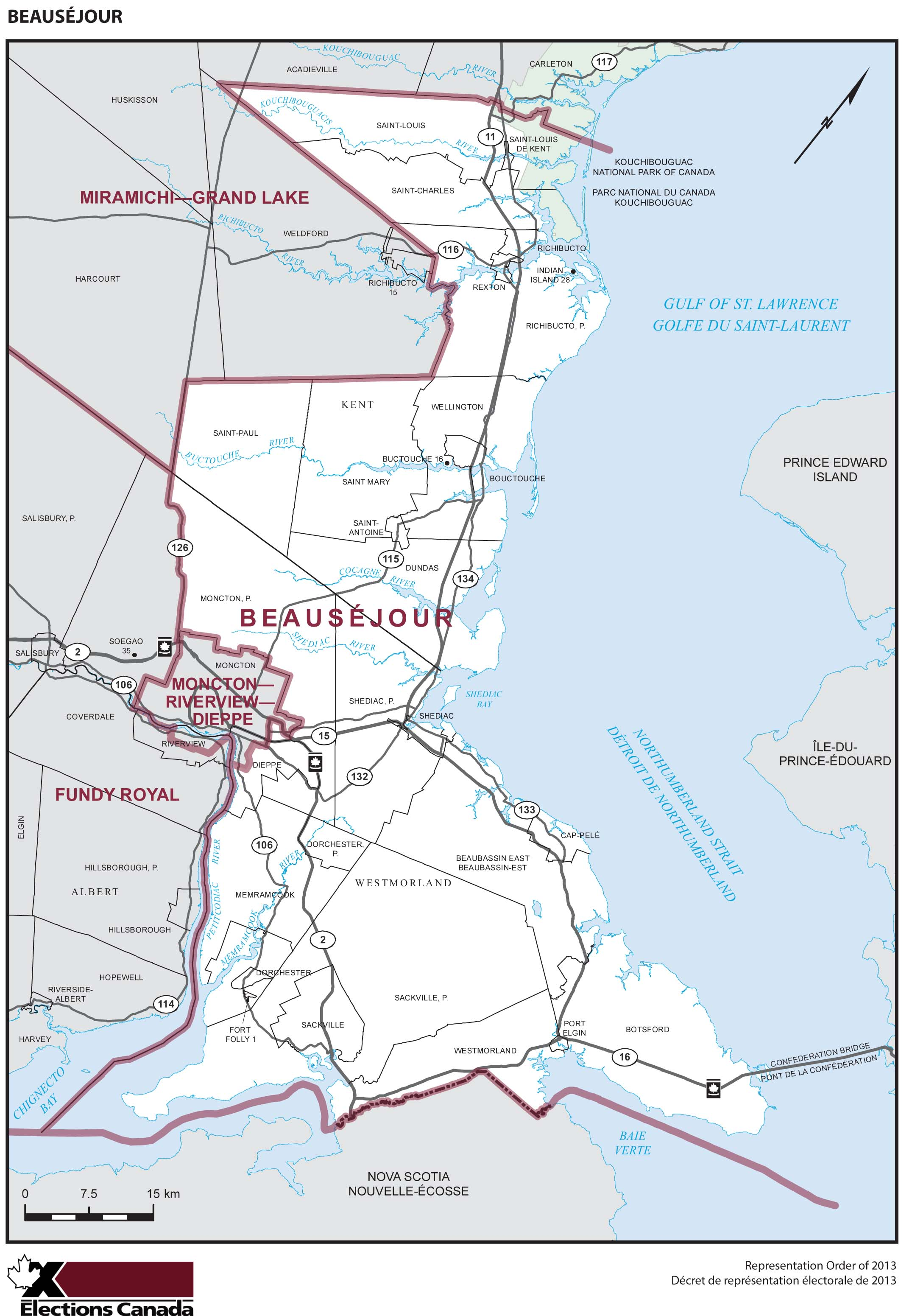 Map: Beauséjour, Federal electoral district, 2013 Representation Order (in white), New Brunswick