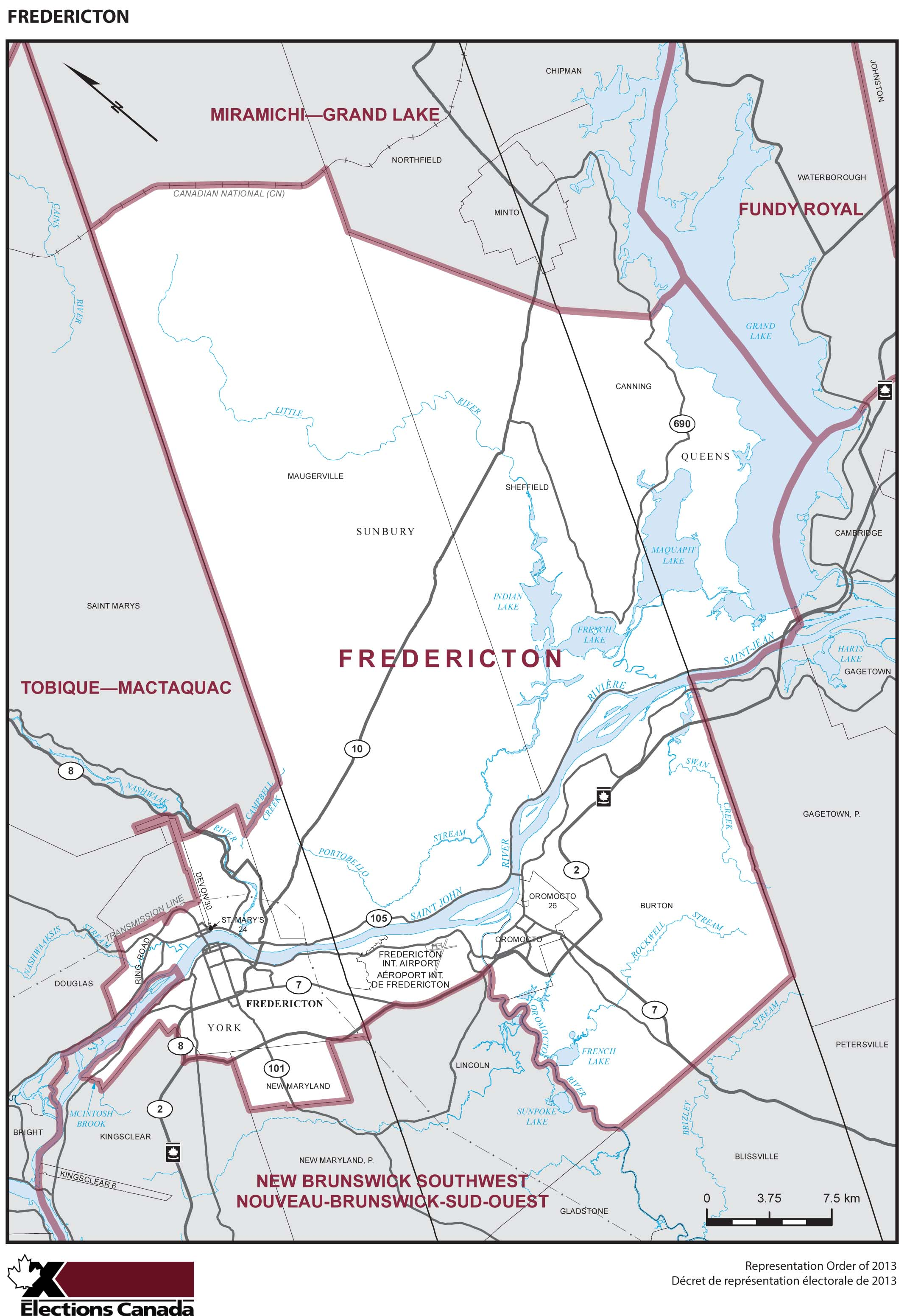 Map: Fredericton, Federal electoral district, 2013 Representation Order (in white), New Brunswick