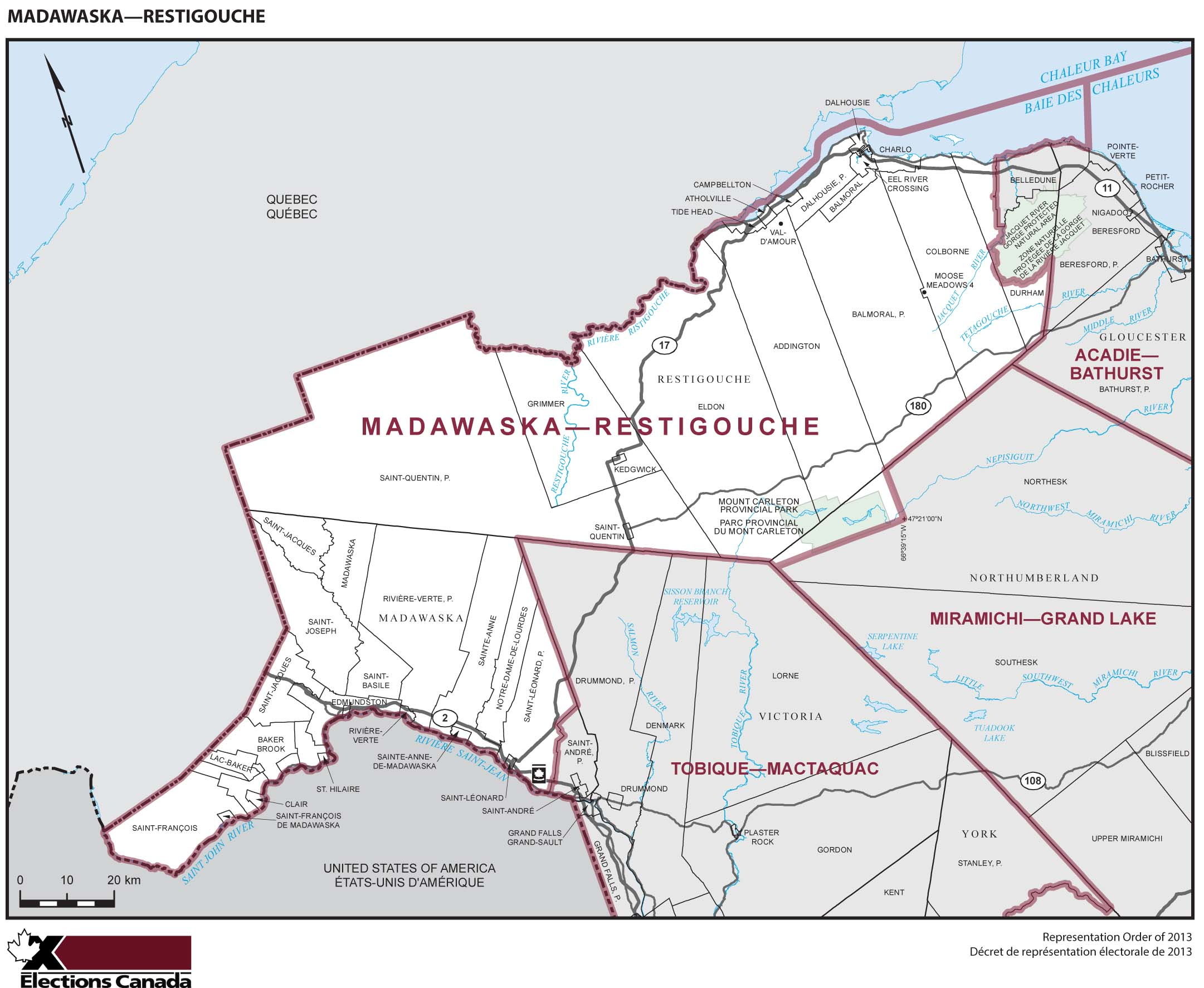Map: Madawaska--Restigouche, Federal electoral district, 2013 Representation Order (in white), New Brunswick