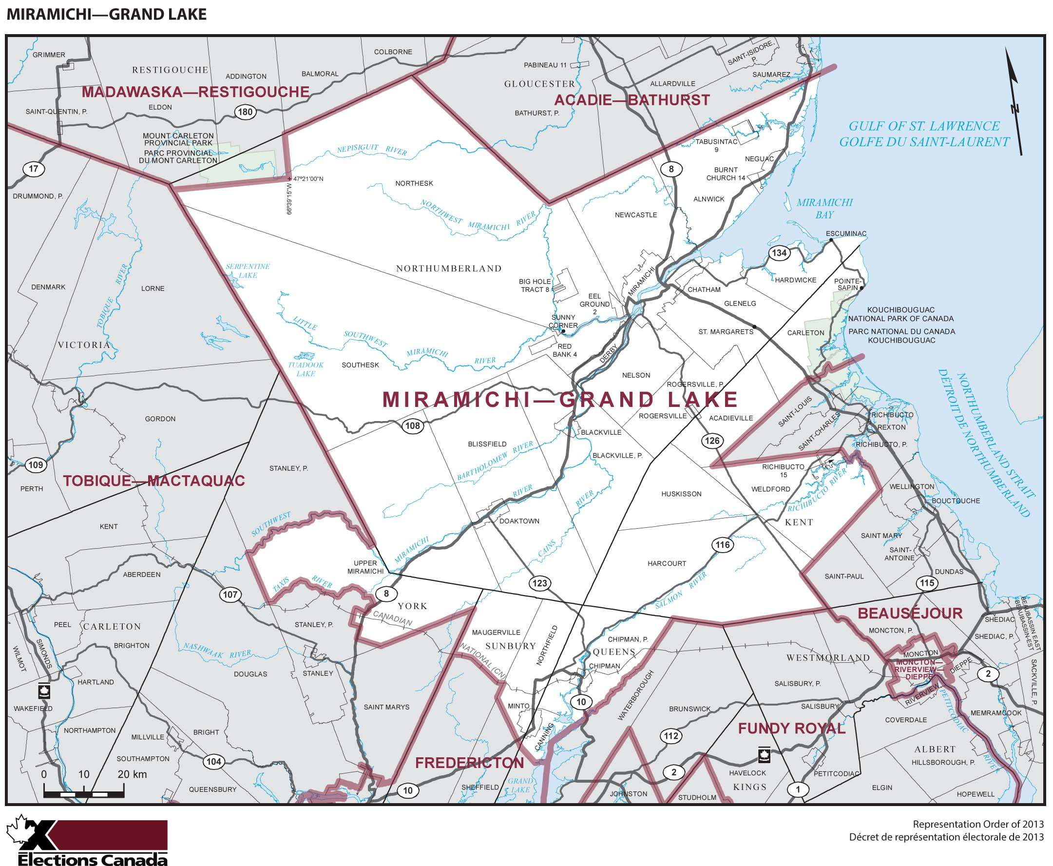 Map: Miramichi--Grand Lake, Federal electoral district, 2013 Representation Order (in white), New Brunswick