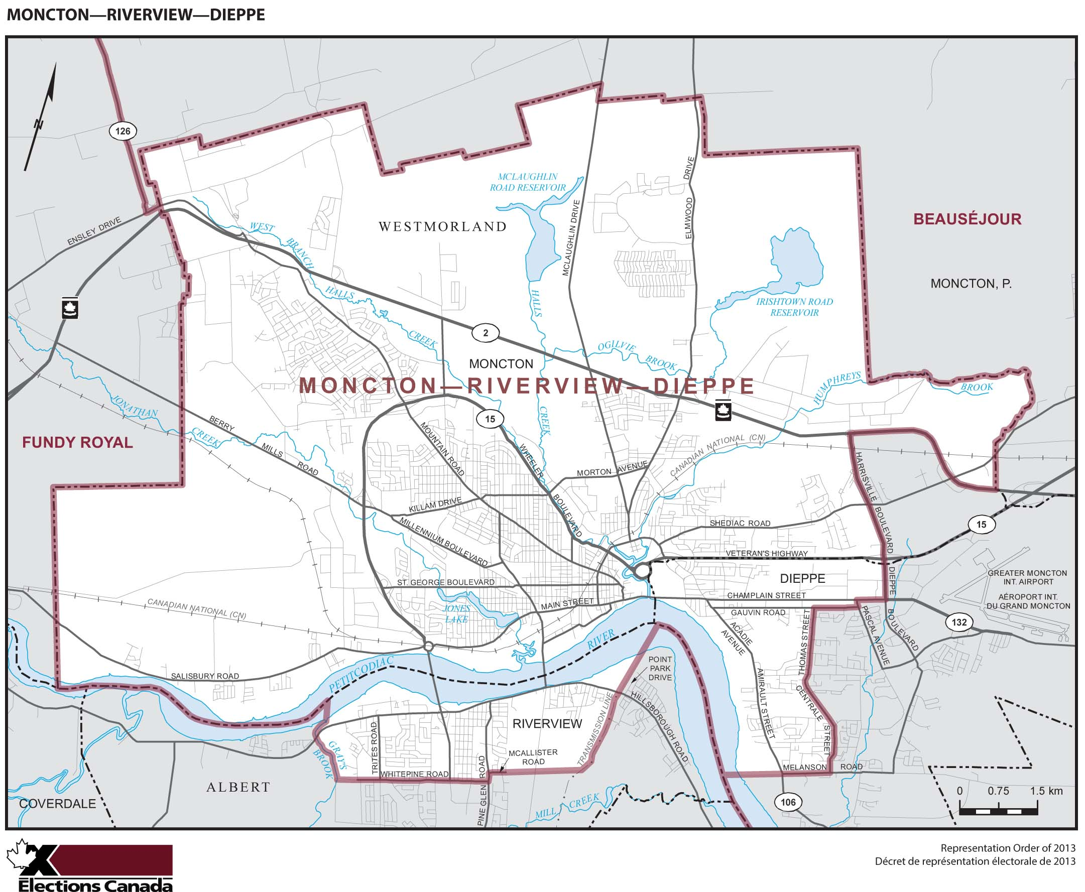 Map: Moncton--Riverview--Dieppe, Federal electoral district, 2013 Representation Order (in white), New Brunswick