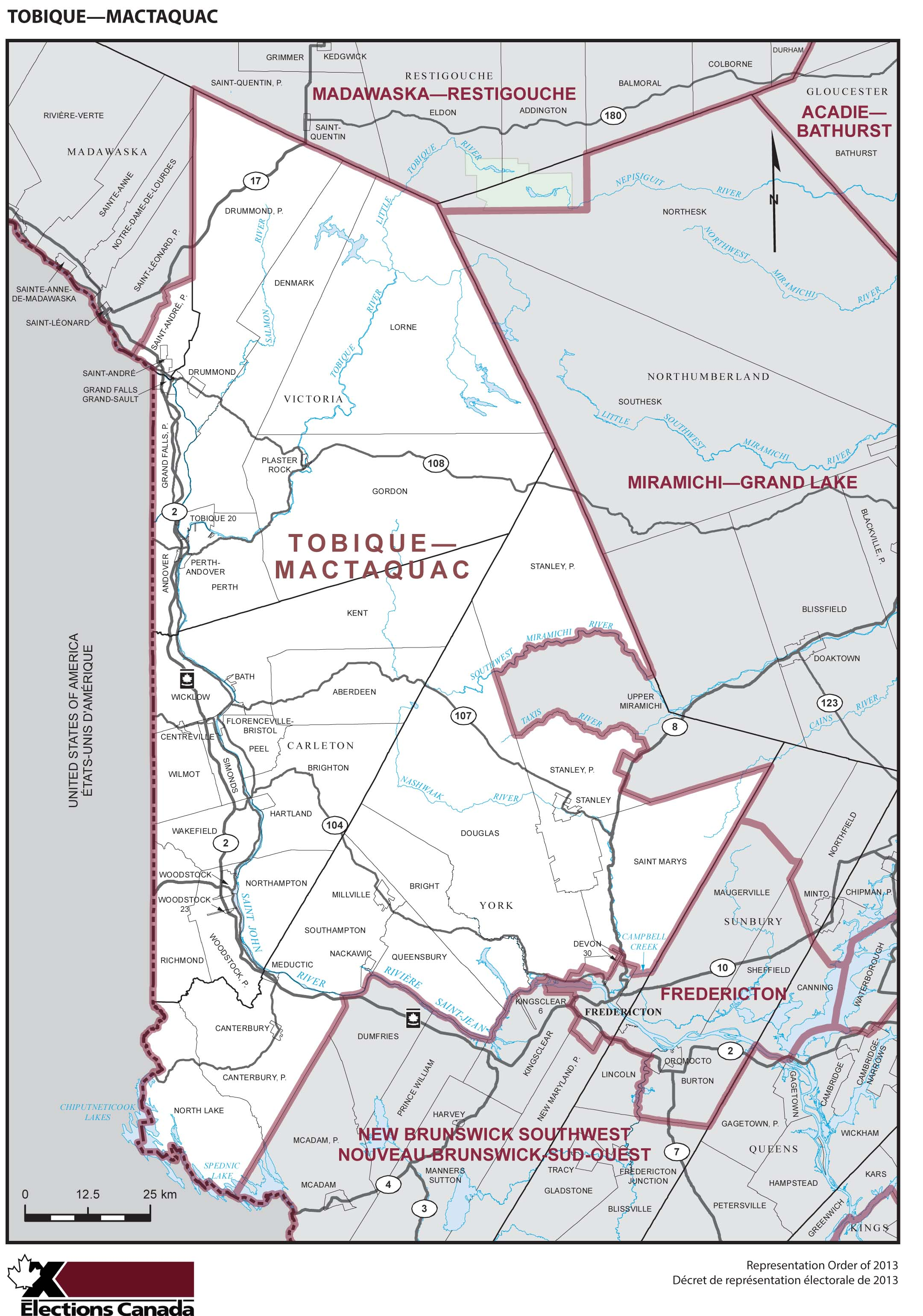 Map: Tobique--Mactaquac, Federal electoral district, 2013 Representation Order (in white), New Brunswick