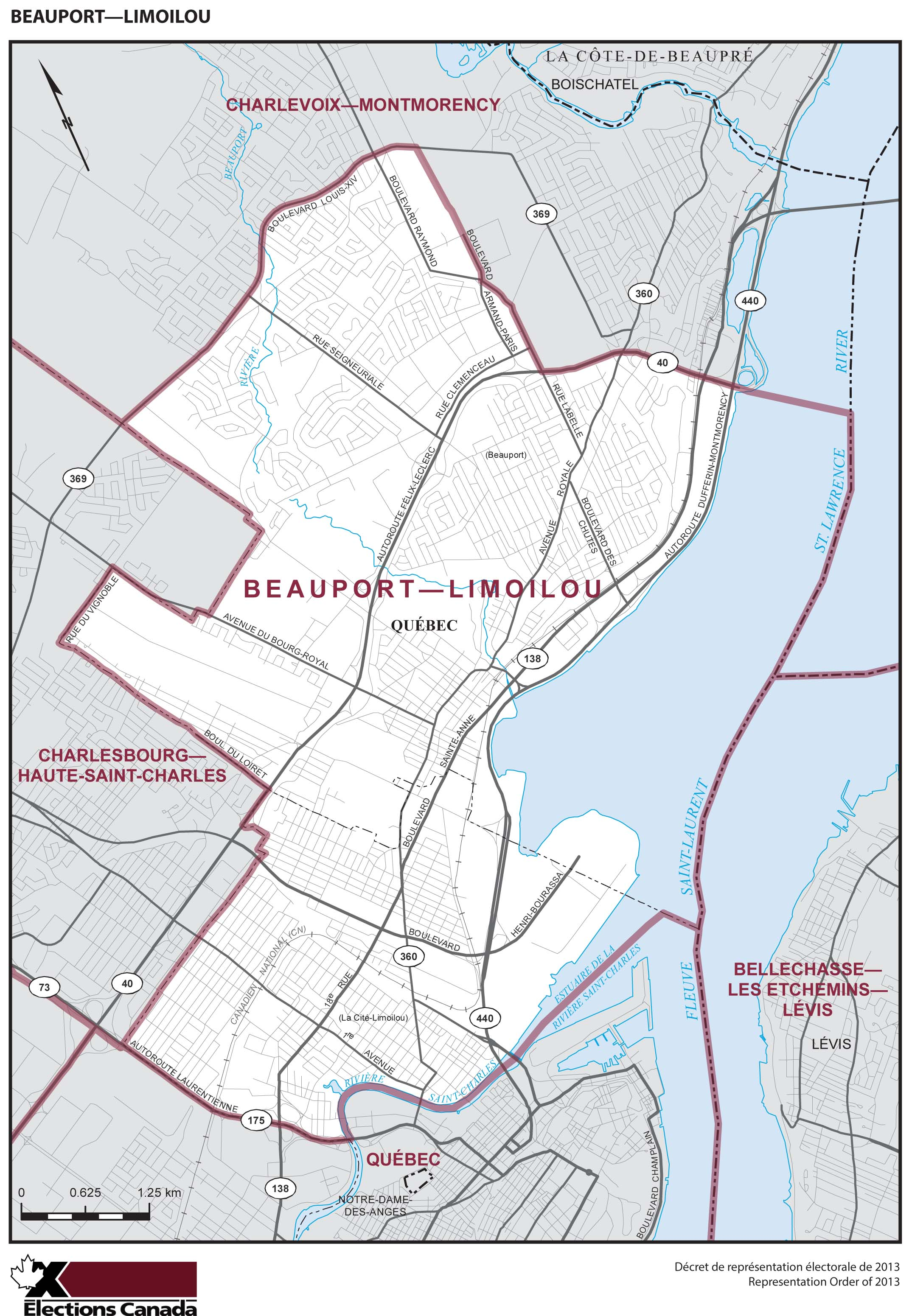 Map: Beauport--Limoilou, Federal electoral district, 2013 Representation Order (in white), Quebec