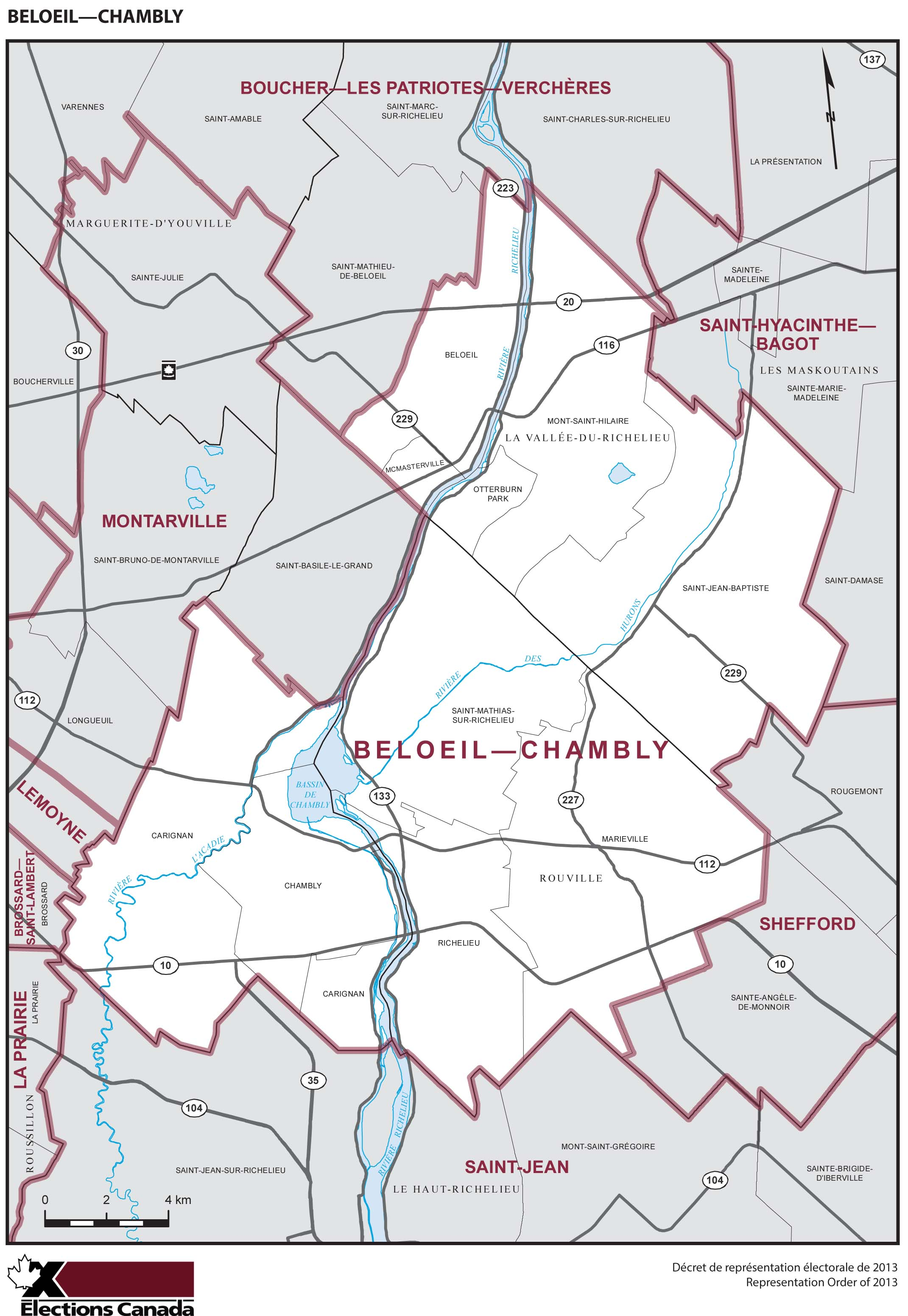 Map: Beloeil--Chambly, Federal electoral district, 2013 Representation Order (in white), Quebec