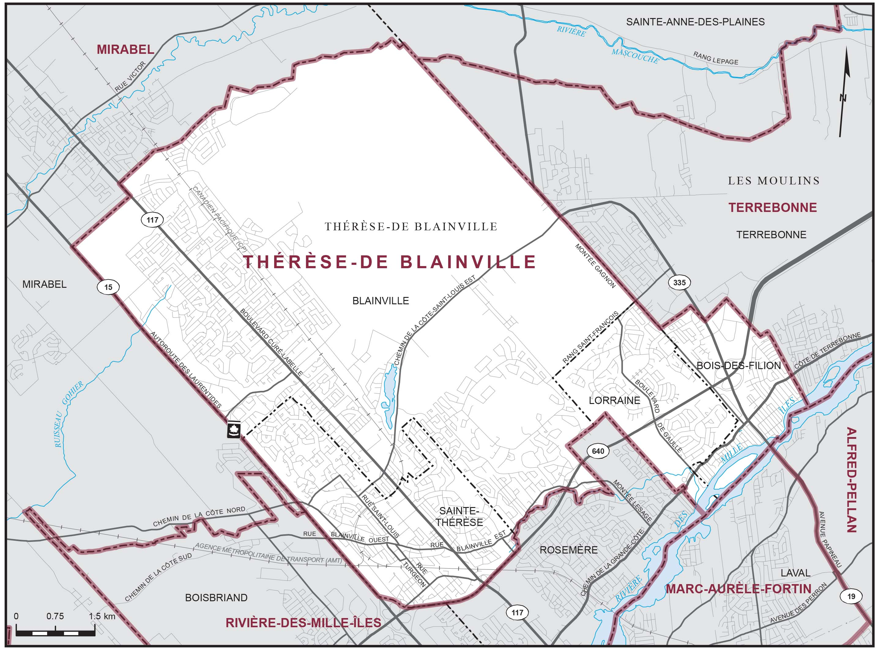 Map: Thérèse-De Blainville, Federal electoral district, 2013 Representation Order (in white), Quebec