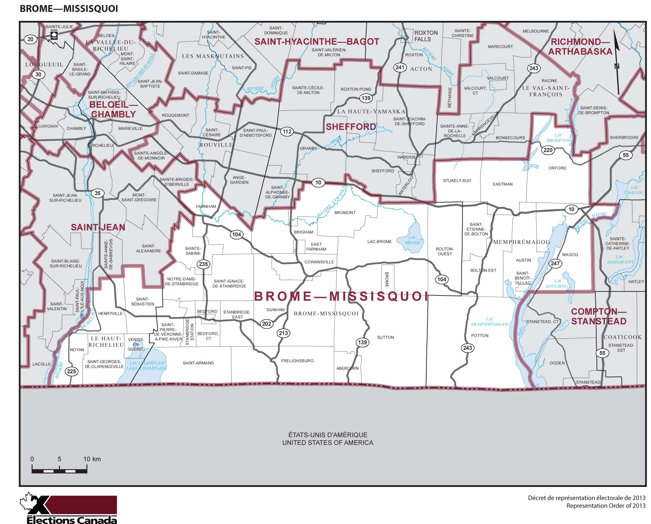 Map: Brome--Missisquoi, Federal electoral district, 2013 Representation Order (in white), Quebec