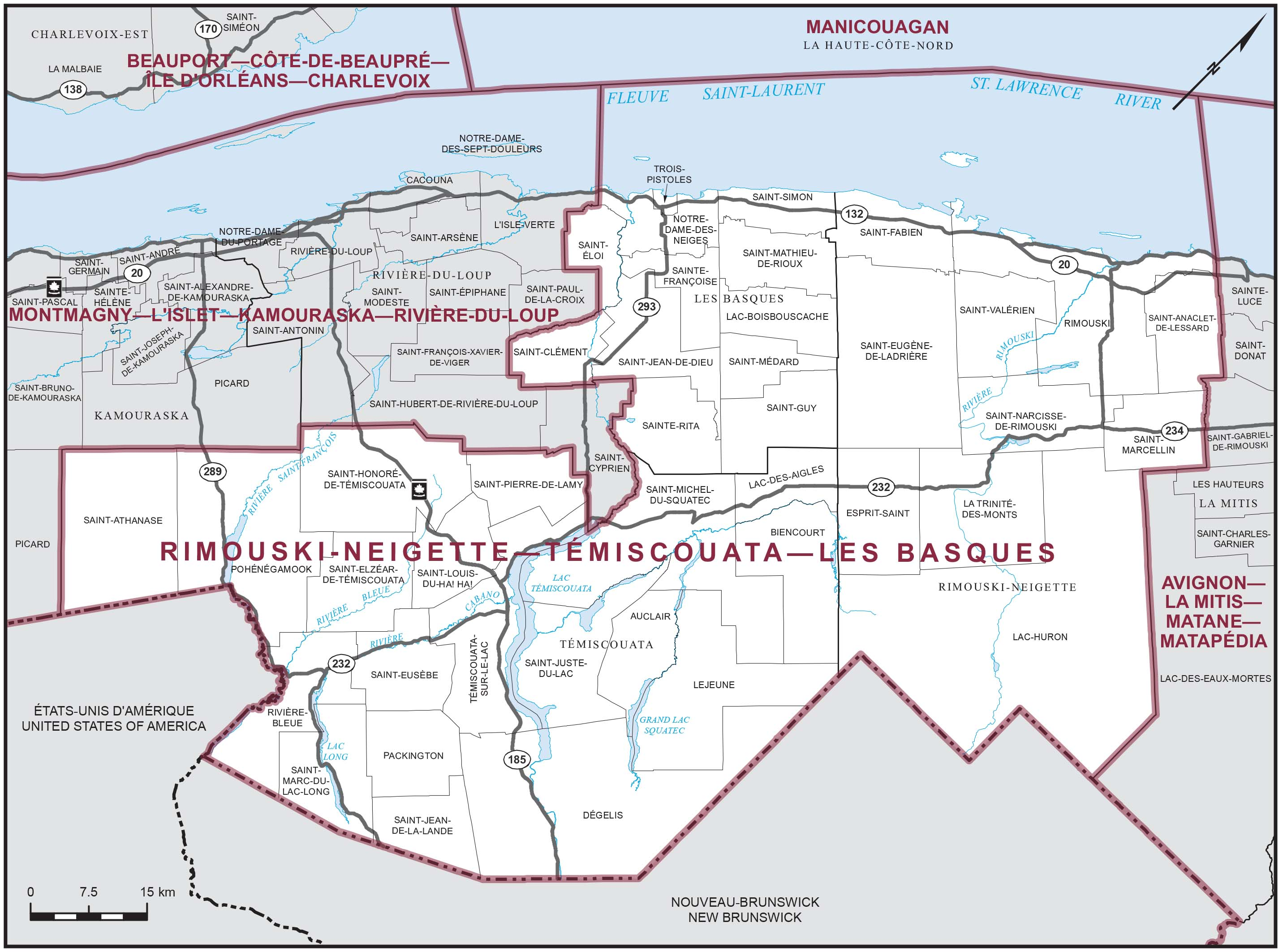 Map: Rimouski-Neigette--Témiscouata--Les Basques, Federal electoral district, 2013 Representation Order (in white), Quebec