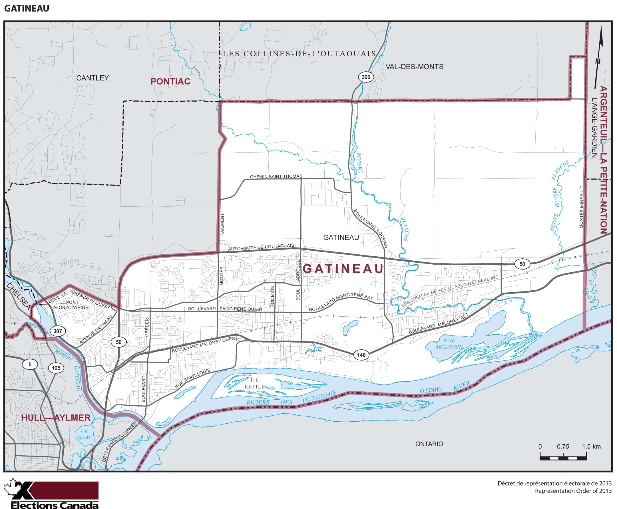 Map: Gatineau, Federal electoral district, 2013 Representation Order (in white), Quebec