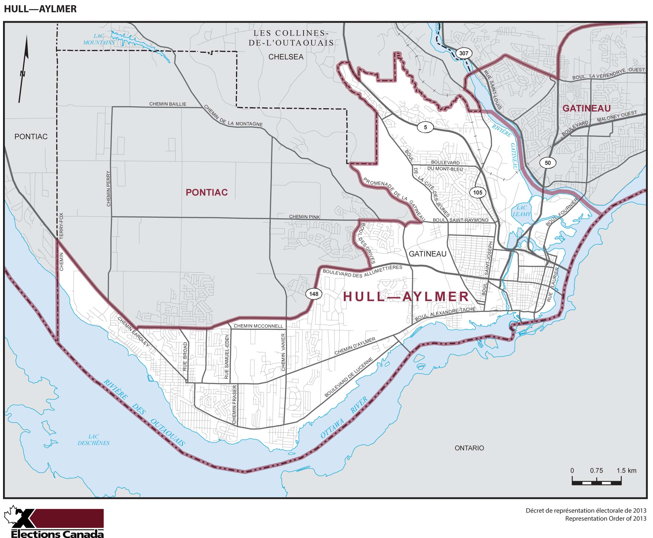Map: Hull--Aylmer, Federal electoral district, 2013 Representation Order (in white), Quebec