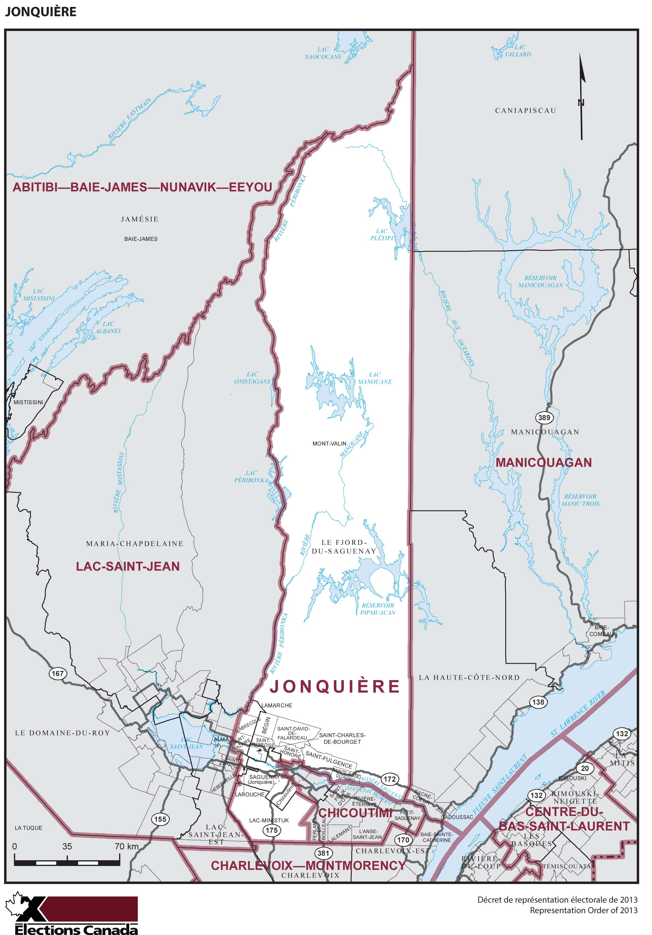 Map: Jonquière, Federal electoral district, 2013 Representation Order (in white), Quebec