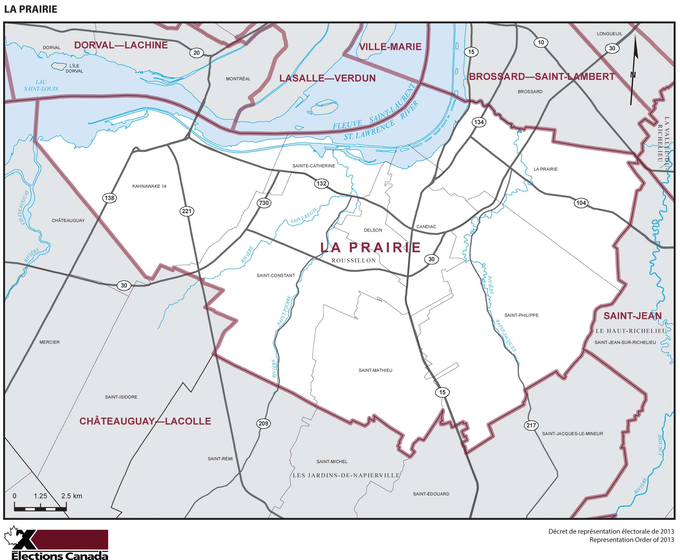 Map: La Prairie, Federal electoral district, 2013 Representation Order (in white), Quebec