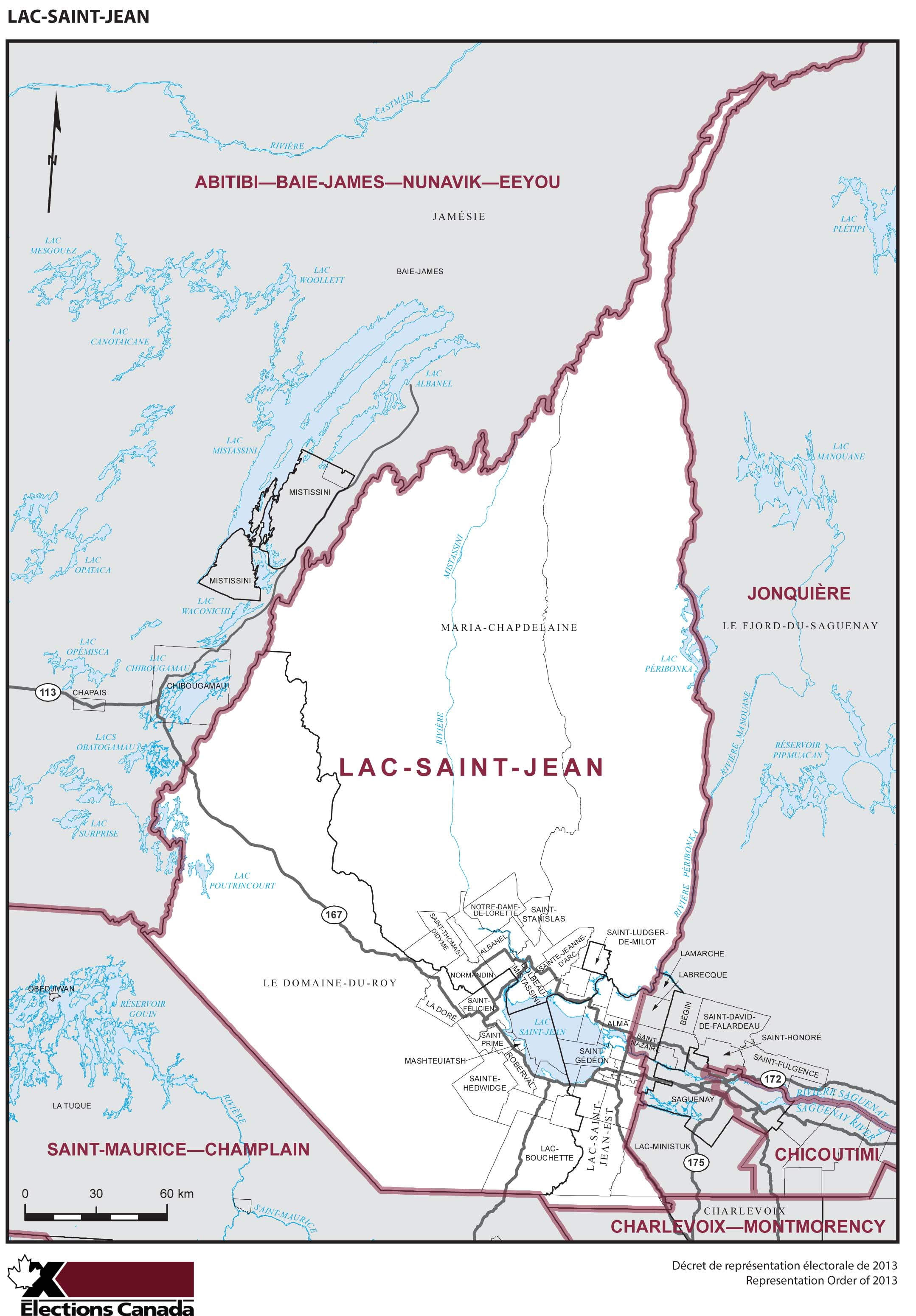 Map: Lac-Saint-Jean, Federal electoral district, 2013 Representation Order (in white), Quebec