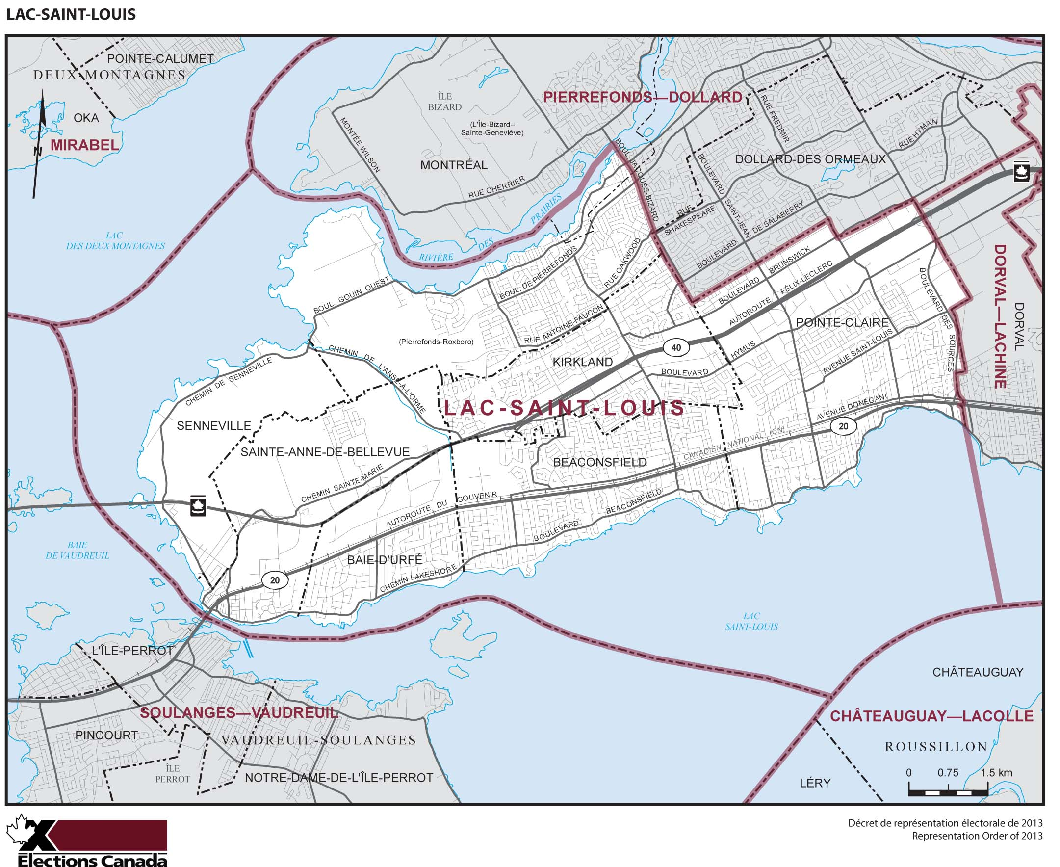 Map: Lac-Saint-Louis, Federal electoral district, 2013 Representation Order (in white), Quebec