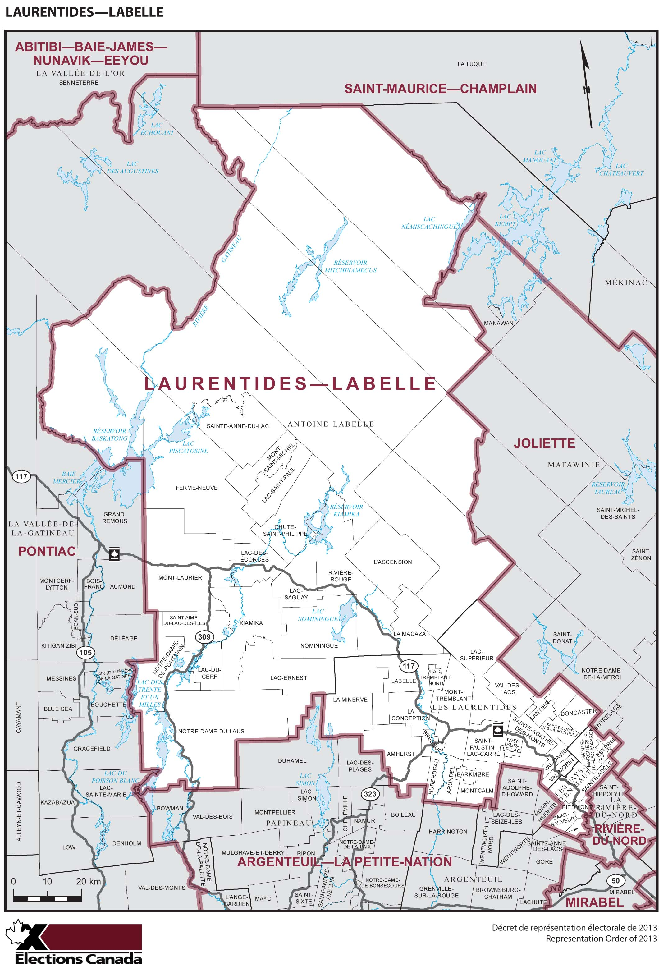 Map: Laurentides--Labelle, Federal electoral district, 2013 Representation Order (in white), Quebec