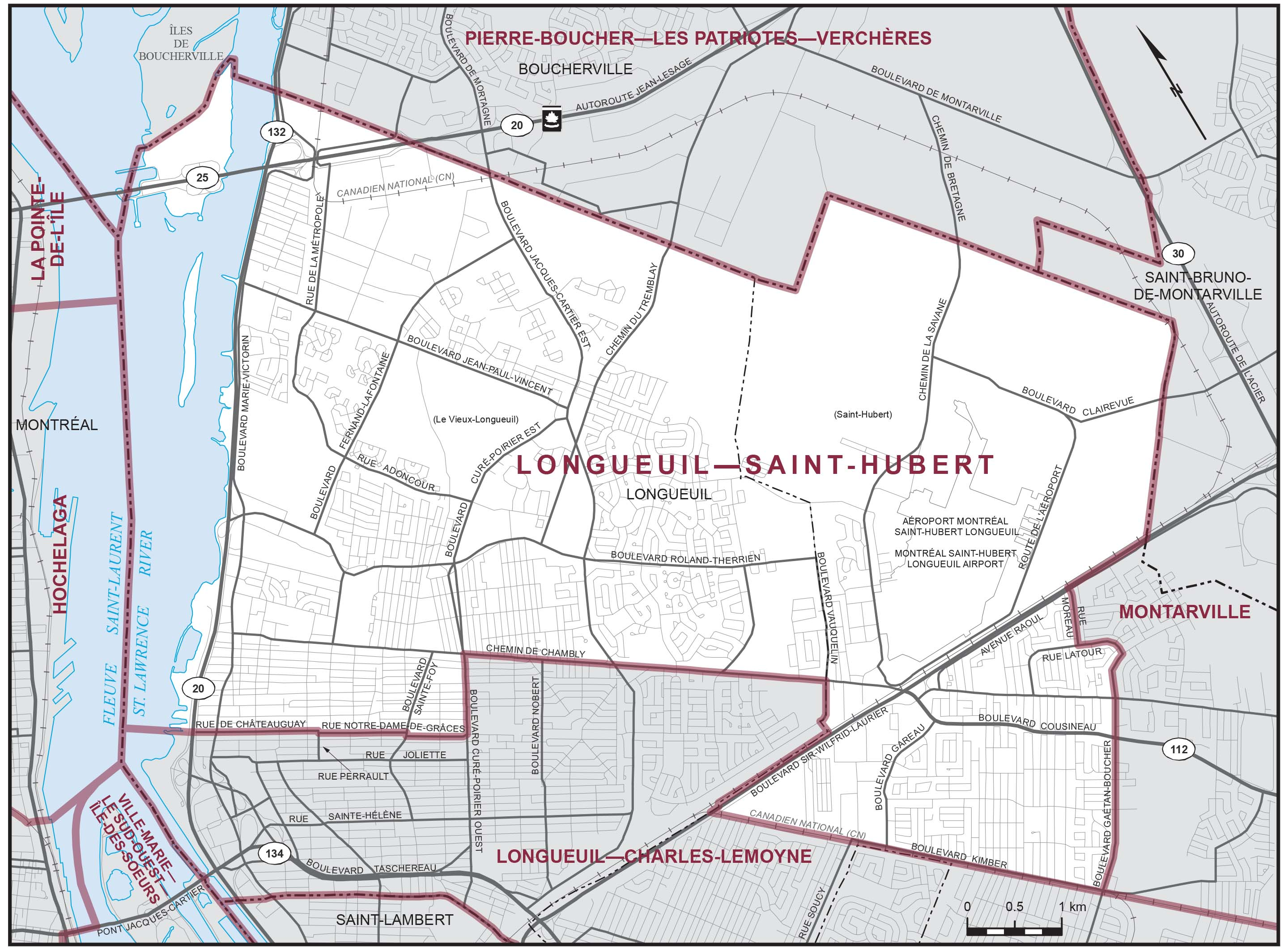 Map: Longueuil--Saint-Hubert, Federal electoral district, 2013 Representation Order (in white), Quebec