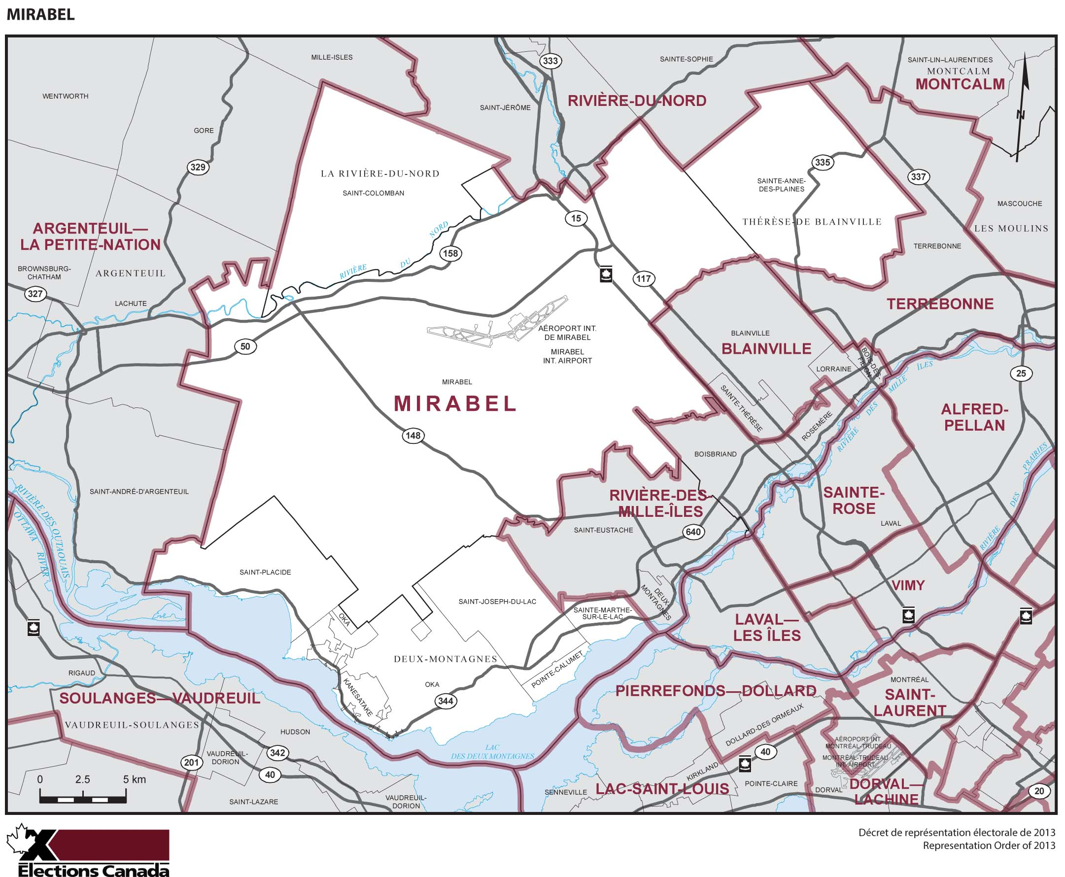 Map: Mirabel, Federal electoral district, 2013 Representation Order (in white), Quebec