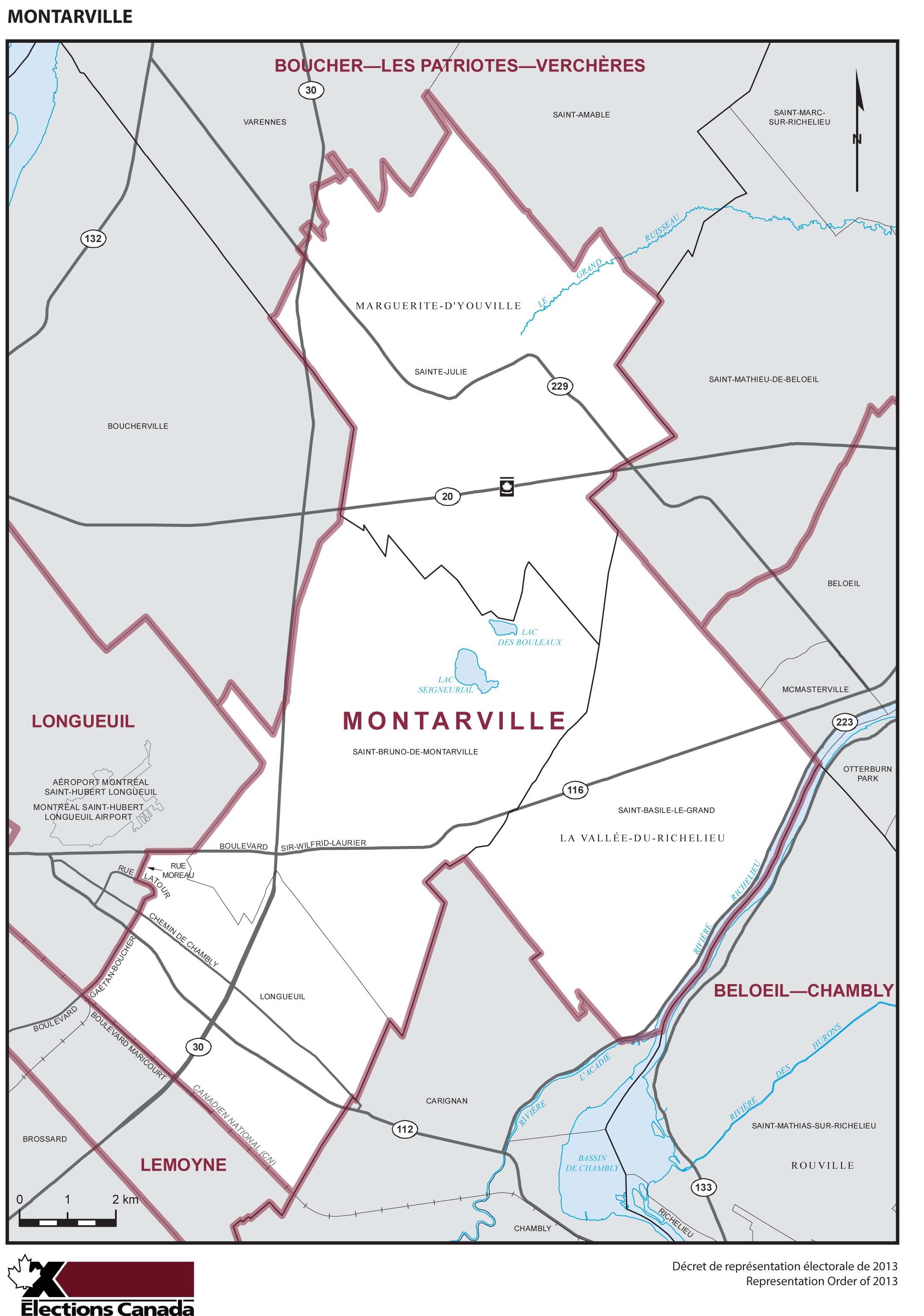Map: Montarville, Federal electoral district, 2013 Representation Order (in white), Quebec