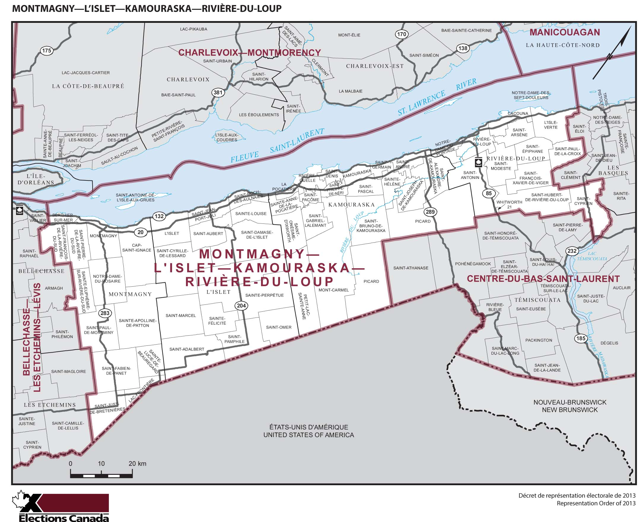 Map: Montmagny--L'Islet--Kamouraska--Rivière-du-Loup, Federal electoral district, 2013 Representation Order (in white), Quebec