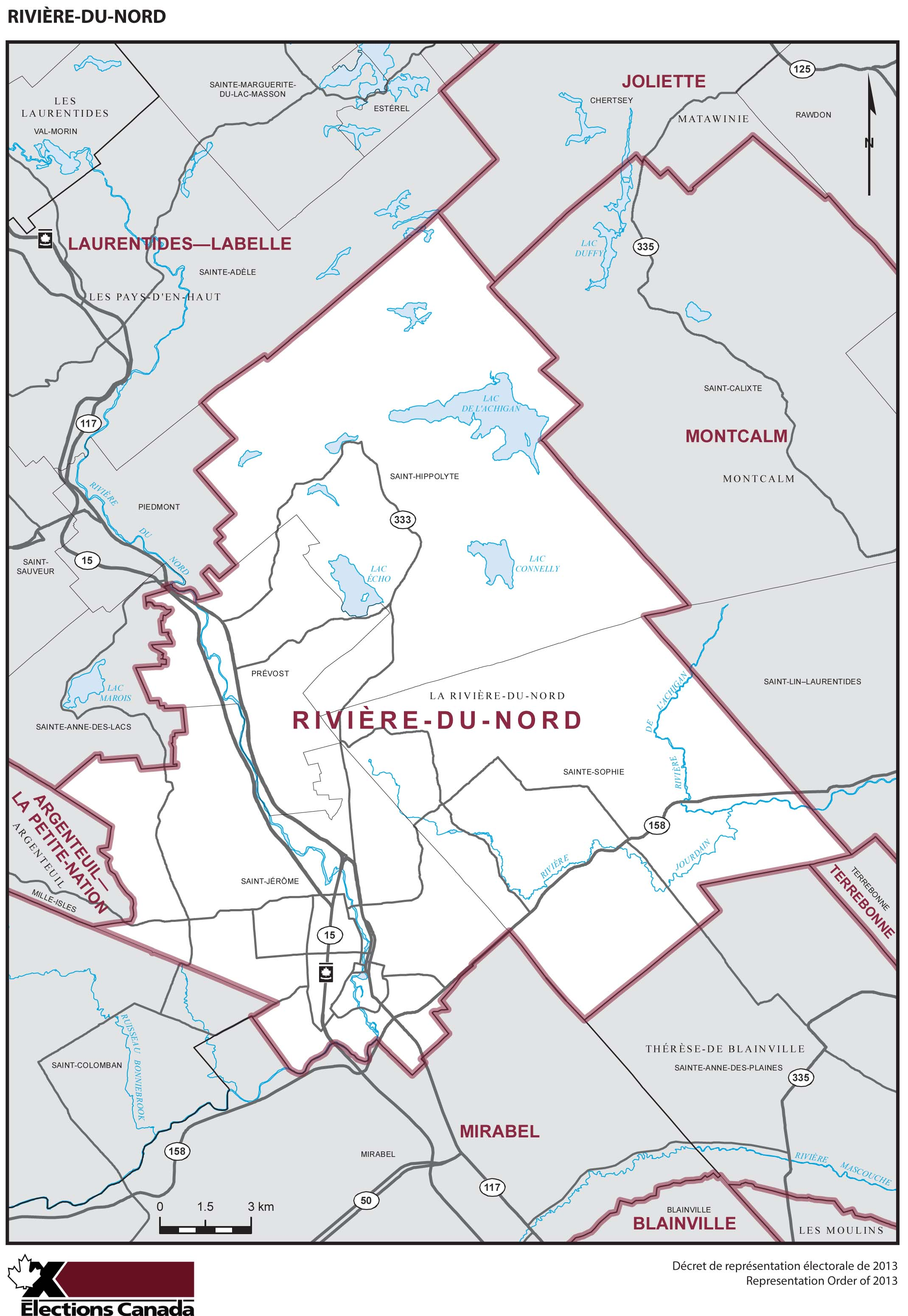 Map: Rivière-du-Nord, Federal electoral district, 2013 Representation Order (in white), Quebec