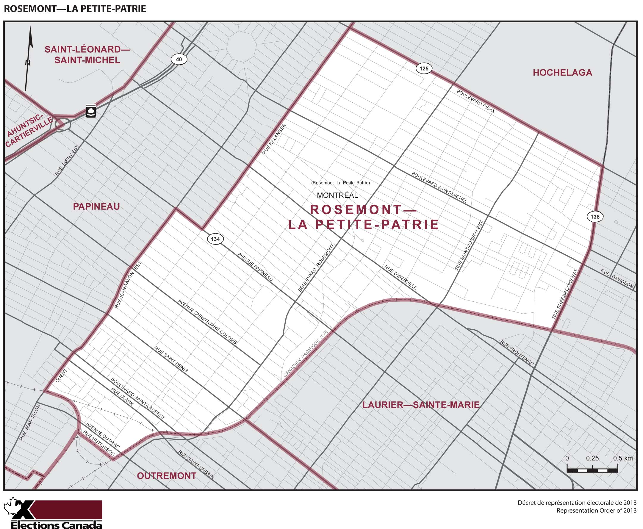 Map: Rosemont--La Petite-Patrie, Federal electoral district, 2013 Representation Order (in white), Quebec