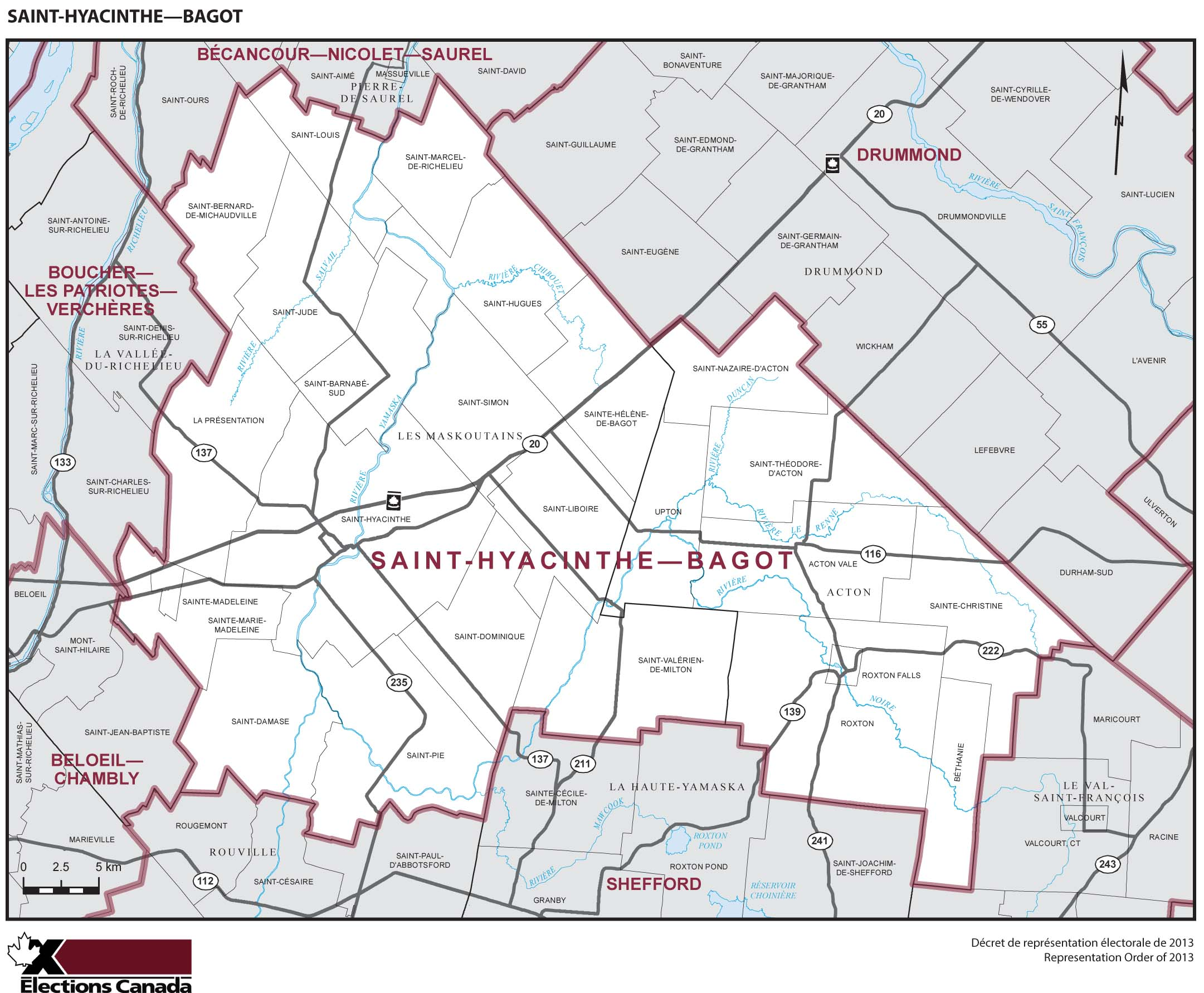 Map: Saint-Hyacinthe--Bagot, Federal electoral district, 2013 Representation Order (in white), Quebec