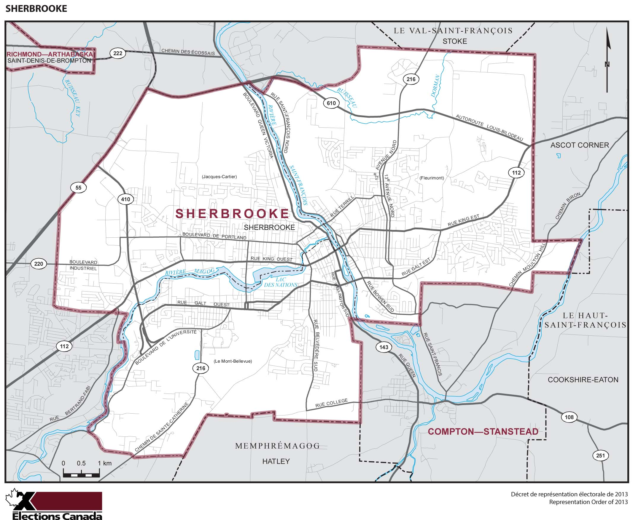 Map: Sherbrooke, Federal electoral district, 2013 Representation Order (in white), Quebec