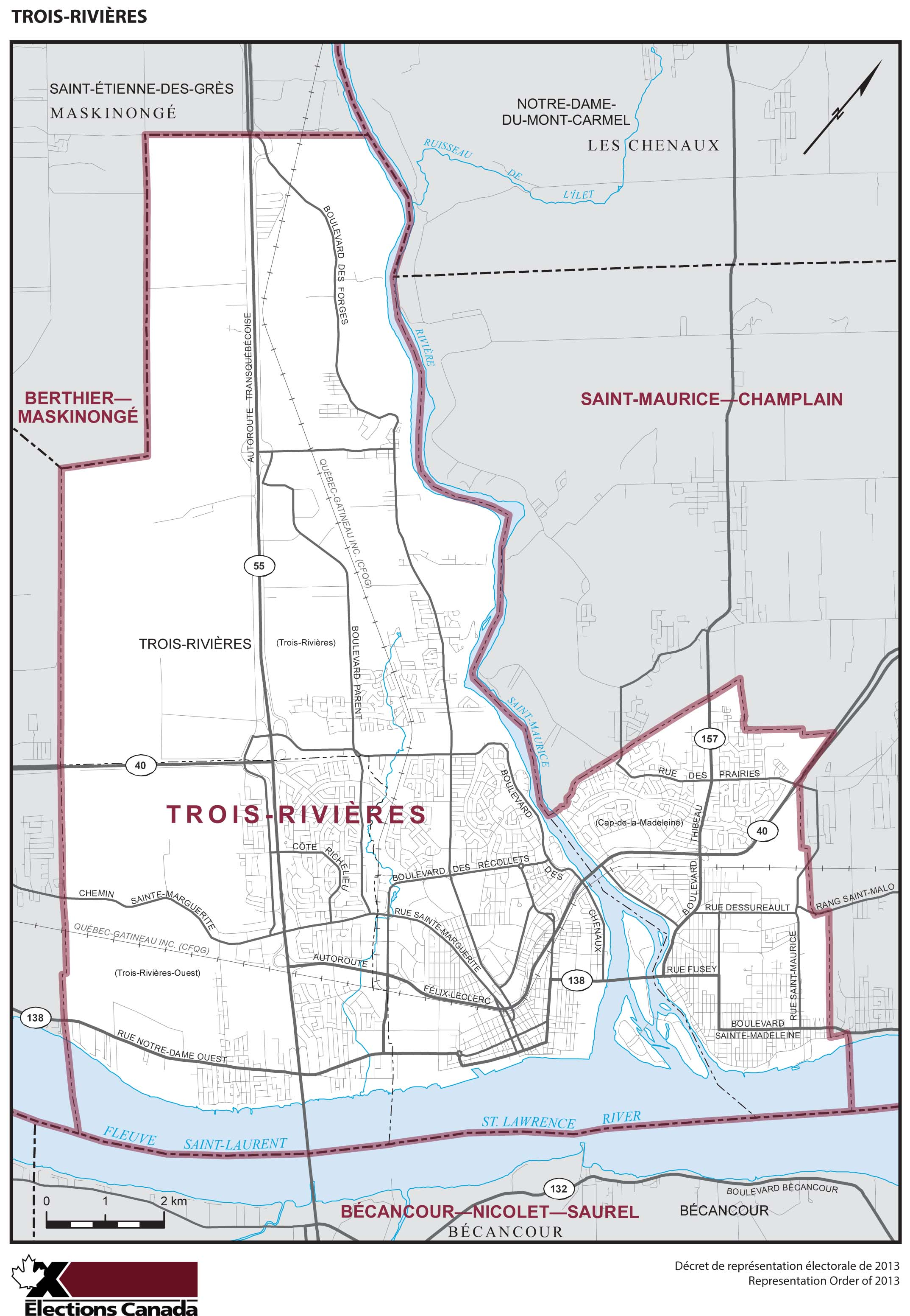 Map: Trois-Rivières, Federal electoral district, 2013 Representation Order (in white), Quebec