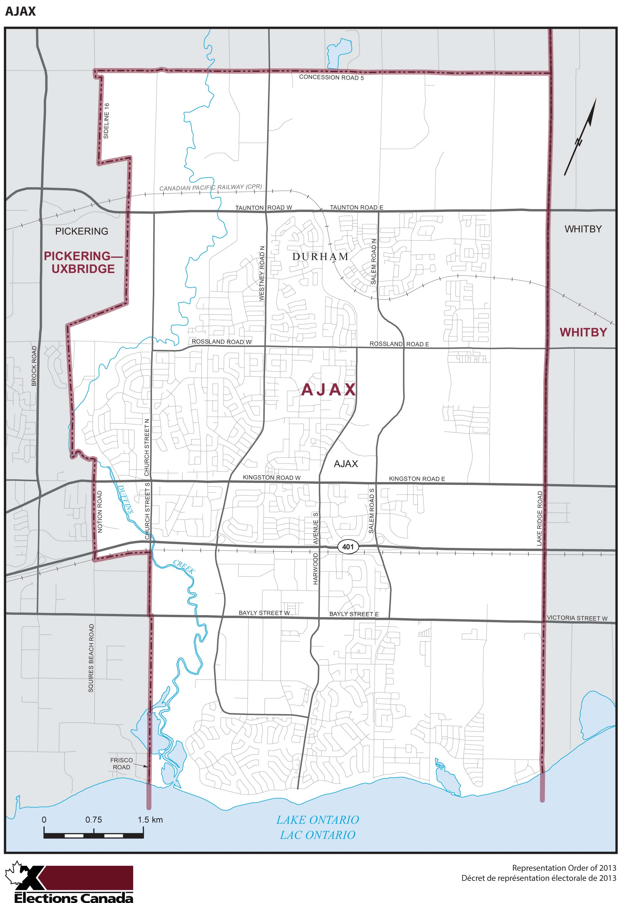 Map: Ajax, Federal electoral district, 2013 Representation Order (in white), Ontario